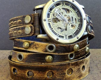 Men's Wrap around Watch, Leather Steampunk Watch, Leather Watch, Men's Wrap watch, Gift, Mechanical Watch, Vintage brown