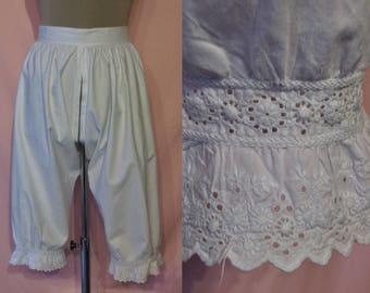 """Delightful Victorian Edwardian long bloomers / split knickers waist 24""""-26"""" lovely hemlines"""