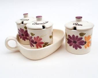Storage Jars for Jam Honey & Marmalade, Babbacombe Pottery, Small preserve pots with lids x 3, Heart shaped serving ware, Floral kitchen