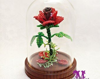 Beaded Enchanted Rose in Glass Dome