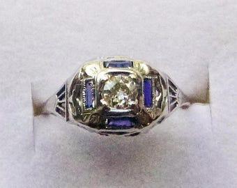 ON SALE Art Deco 18k filigree white gold antique engagement ring .25 ct diamond baguette sapphires size 6