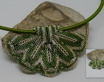 Green and silver woven necklace