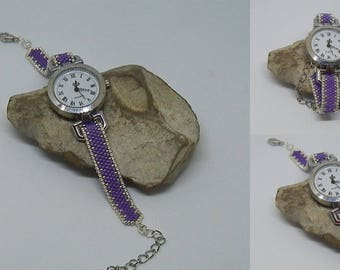 Purple and silver woven bracelet watch MONT691