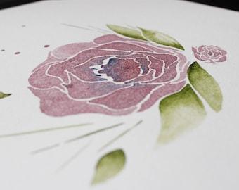 Watercolour Garden Flowers (Violet)