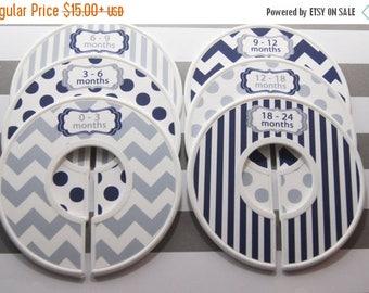 SALE Custom Baby Closet Dividers Navy Nursery Gray Nursery Chevron Stripes Dots Clothes Organizers Baby Shower Gift Baby Boy Gift CD310C