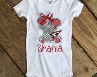 Alabama elephant football applique shirt
