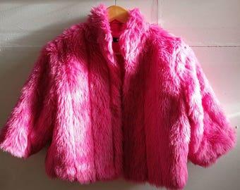 90s faux fur pink jacjey!