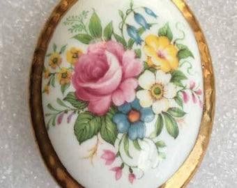 Lovely 'English Bone China' Flowers Brooch