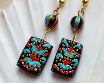 Venetian Style Folk Art Hand Painted Patterned Square Bead Dangle earrings in Black Blue Red and Gold