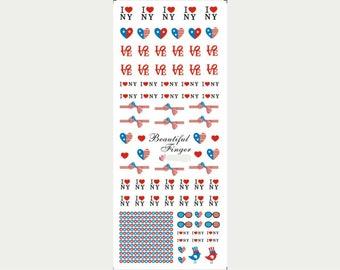 I Love NY nail water decals/ American flag nail stickers/ Patriotic nail decals/ New York nail art/ Nails/ Nail art supplies/hot191