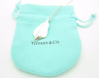 Tiffany & Co. Sterling Silver Leaf Drop Pendant Necklace 16""