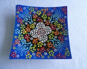 """Blue Square Plate, 5"""" square, Turkish ceramic, blue with primary colors, raised floral plate, trinket dish, coaster"""