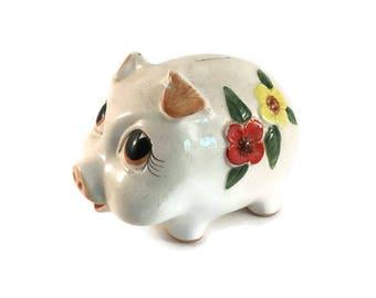 Vintage Lefton Piggy Bank, Hand Painted Anthropomorphic Ceramic Bank Nursery Decor Baby Shower Gift, Glazed Ceramic Piggy Bank Floral Design
