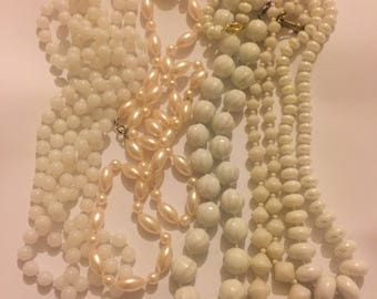 Vintage White Plastic Beaded Necklace Lot, Retro Kitsch Bead Jewellery