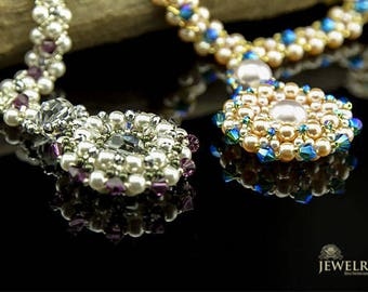 "Swarovski Pearls handmade Beaded Necklace ""Pearl Wheel"""