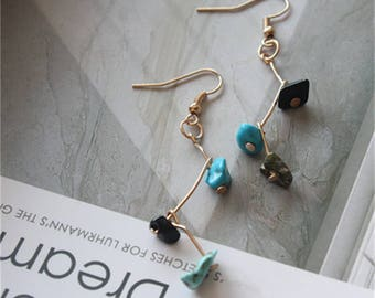1 Pair Chip Turquoise Drop Earring