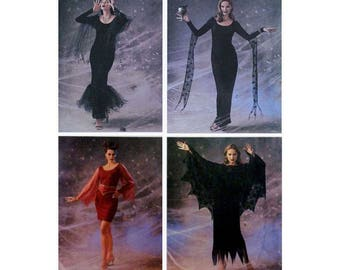 Women's Halloween Costume Sewing Pattern, Misses' Size 12-14-16 Morticia Addams Family Goth, Dress and Cape Uncut Butterick 3554