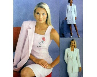 """Semi-Fitted Dress and Lined Jacket, Women's Sewing Pattern Misses Size 14, 16, 18 Bust 36, 38, 40"""" Uncut McCall's 2618"""