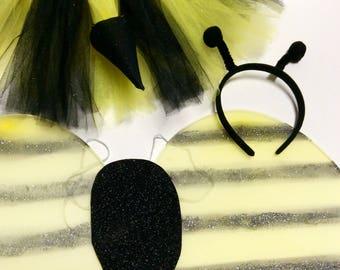Bee costume, kids bee costume, bee halloween costume, bee wings, bee headband, bumble bee costume, bee tutu, bumble bee tutu, halloween baby