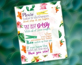 Baby Shower GAME - Don't Say Baby 8x10 Sign [DIGITAL FILE] - Fiesta, Cinco De Mayo, Mexican Theme, Co-ed Baby Shower