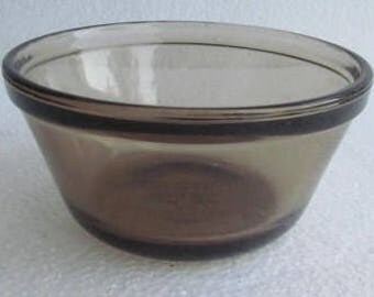 Anchor Hocking (2) Brown Color Glass Collectible Custard Bowls 6 oz USA