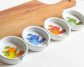 Vintage Ceramic Fruit-themed Ashtrays Trinket Jewelry Keepers Set of Four (4) Made in Japan