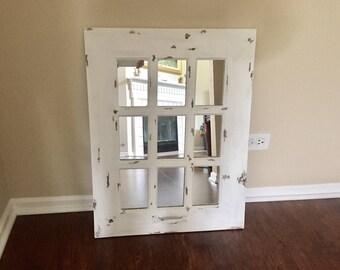 Window mirror, rustic, distressed white, 9 panel mirror