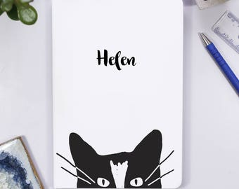 Cat Notebook for her - Travel Journal for her - Personalised Notebook - Cat Birthday Gift For her - Kitten Teenage gift - Cat Notebook