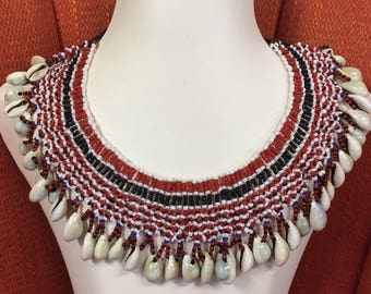 Big African Shell and Bead Collar Necklace-Free shipping