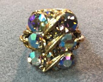 Fun Vintage Adjustable Rhinestone Ring-Free shipping