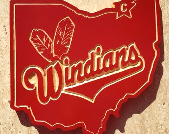 Cleveland, Windians, Wood Carved Sign, Cleveland Ohio, Indians, Basebal, Mancave Wall Art, Sports, Custom Wood Signs,Tribe, Chief Wahoo