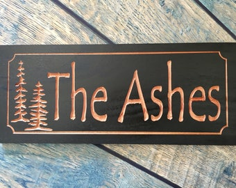 Wood Carved Black Signs Last Name Family Address Sign Anniversary Wedding Gift  Wood Wall Art Unique gift ideas Pine Trees Benchmark Signs