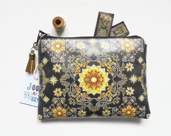 Gifts for mum, eco gift, black and gold, ornate wallet, waterproof zipper, vegan gift, zipper pouch, zipper wallet, waterproof pouch.
