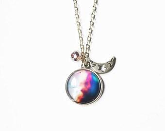 Silver Galaxy Moon Necklace - 1 PC
