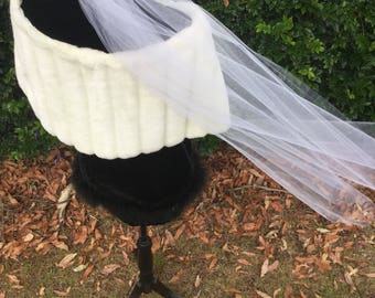 Blusher Veil Over the Face Worn with Cathedral or Chapel Veil