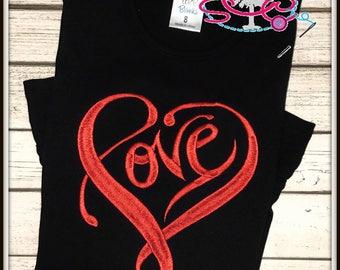 LOVE Valentines Shirt/Bodysuit--Girls Valentine Shirt--Valentines Day