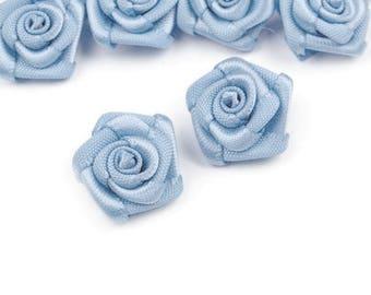 10 small flowers blue sky satin 15 mm