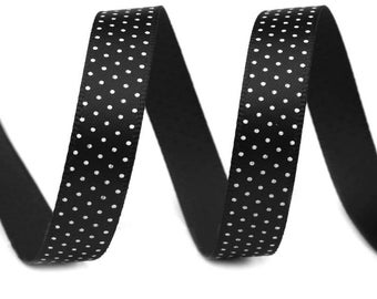 Black polka dot satin 3 M Ruban white 10 mm