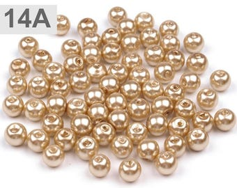 A 14-50 g of beads 6 mm mother of Pearl round glass