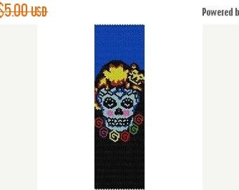 SALE HALF PRICE off Instant Download Beading Pattern Peyote Stitch Bracelet Catted Sugar Skull Seed Bead Cuff