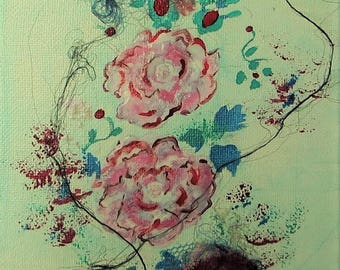 """Abstract, floral abstract on canvas : 5,5 / 8,7 in ( 14/22 cm ), mixed media, acrylic and textile fibers, """"Floral 7"""""""