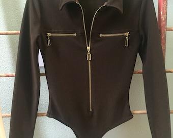 Massconi Collection brown Bodysuit with gold zipper / medium