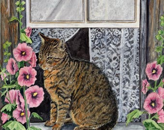 "4 Tabby Cat Greeting Cards, ""How Does Your garden Grow?""  5 1/2"" x 4 1/4"" ""  Heather Anderson cat artist"