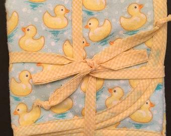 Baby blanket, flannel,  yellow ducks, checked gingham trim,