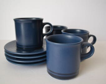 Pfaltzgraff Midnight Sun Cup and Saucer Set - set of 4