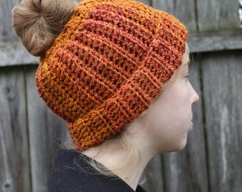 RTS Messy Bun Hat,Orange Striped Ponytail Beanie, Ready to Ship, Stripe Handmade Crochet Messy Bun Hat, Knit Pony tail Hat Red Orange Stripe