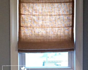 "Custom Made Flat Front Burlap Roman Shade, Light-Filtering Lining - 35""w and under"