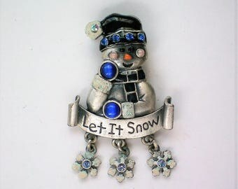 """Signed KC """"Let It Snow"""" Snowman for Winter Holidays - 5654"""