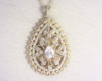 Large Vintage Cubic Zirconia Pendant Necklace