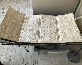 """Antique Tin Ceiling Tile, Original White Paint, Measures Approx 24""""x48""""(2' x 4') I have 24 available, listing is for one, combined shipping"""